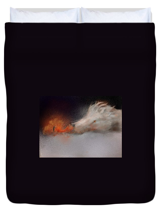 Dragon Duvet Cover featuring the digital art Roasting Chestnuts by Kathryn Bell