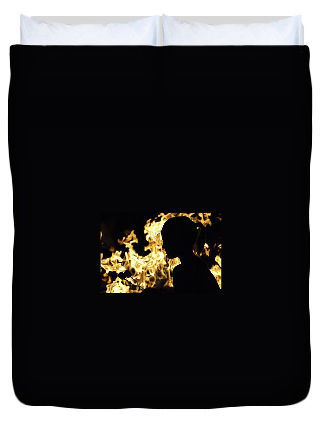 Fire Duvet Cover featuring the photograph Roasting Marshmallows Over An Open Fire by Jill Reger