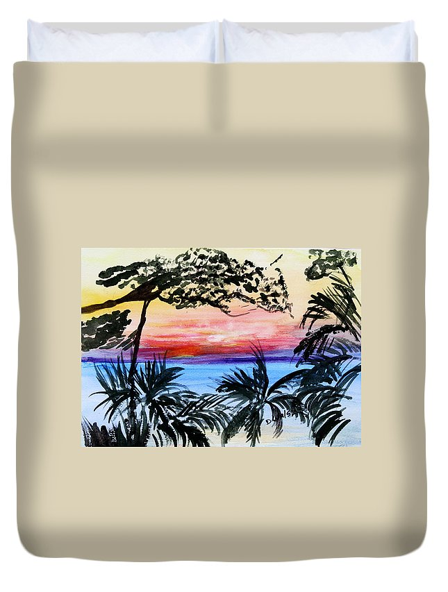 Tropical Duvet Cover featuring the painting Roatan Sunset by Donna Walsh