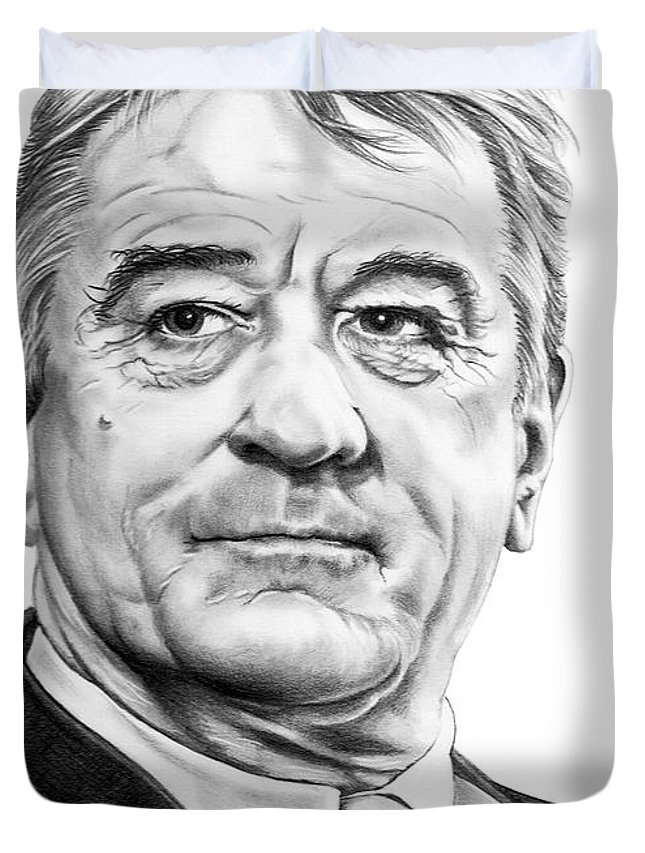 Pencil Duvet Cover featuring the drawing Robert Deniro by Murphy Elliott