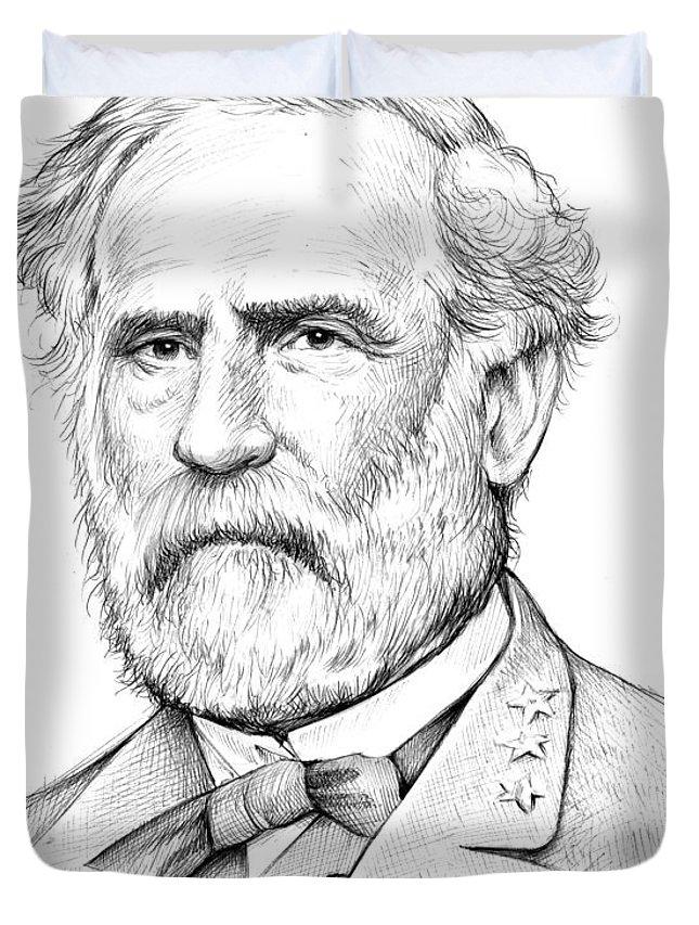 Robert E. Lee Duvet Cover featuring the drawing Robert E. Lee by Greg Joens