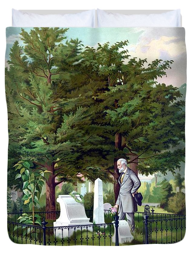 Robert E Lee Duvet Cover featuring the painting Robert E. Lee Visits Stonewall Jackson's Grave by War Is Hell Store