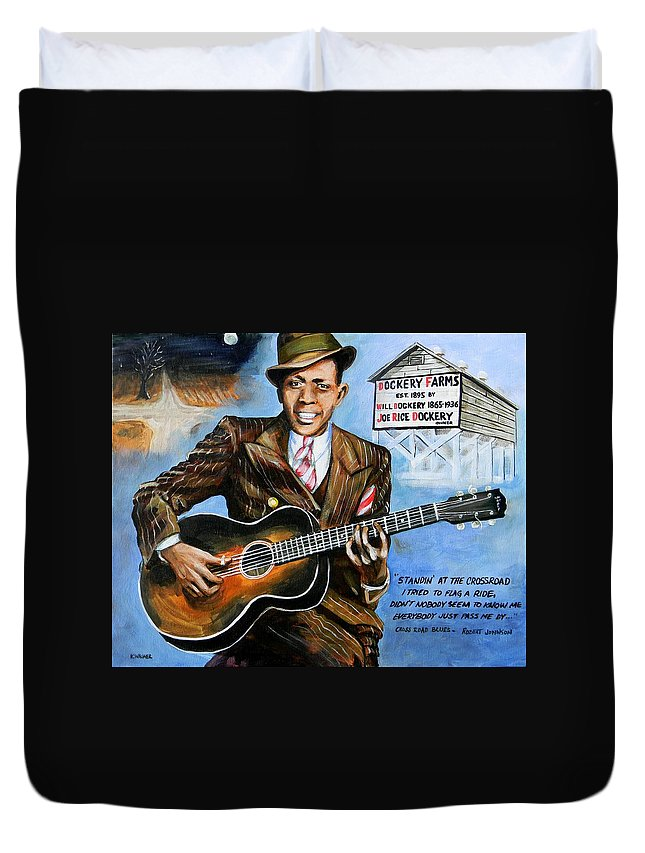 Robert Johnson Duvet Cover featuring the painting Robert Johnson Mississippi Delta Blues by Karl Wagner