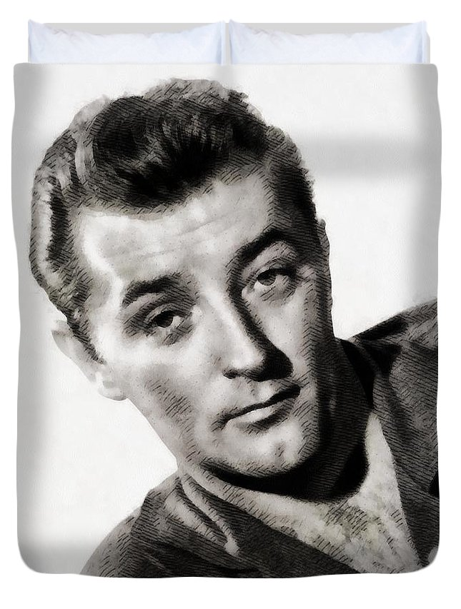 Hollywood Duvet Cover featuring the painting Robert Mitchum, Vintage Actor by John Springfield