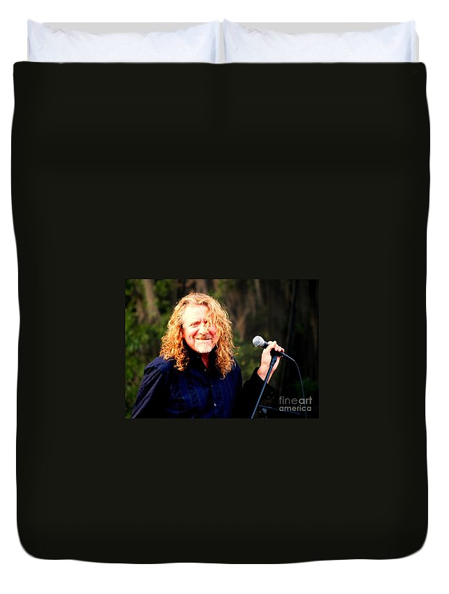 Music Duvet Cover featuring the photograph Robert Plant by Angela Murray