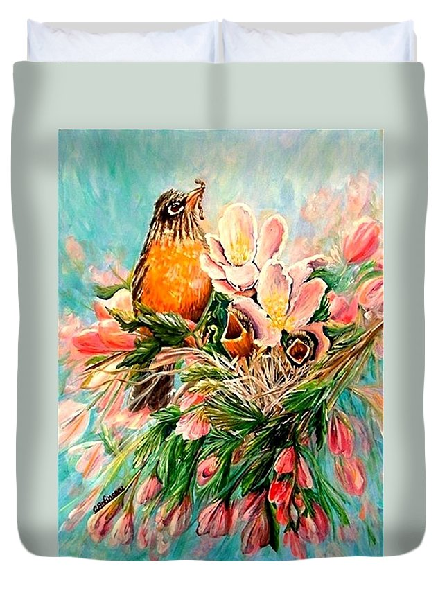 Robins Duvet Cover featuring the painting Robin Hood by Carol Allen Anfinsen