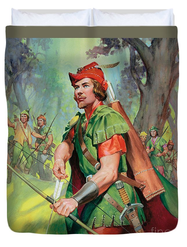 Robin Duvet Cover featuring the painting Robin Hood by James Edwin McConnell