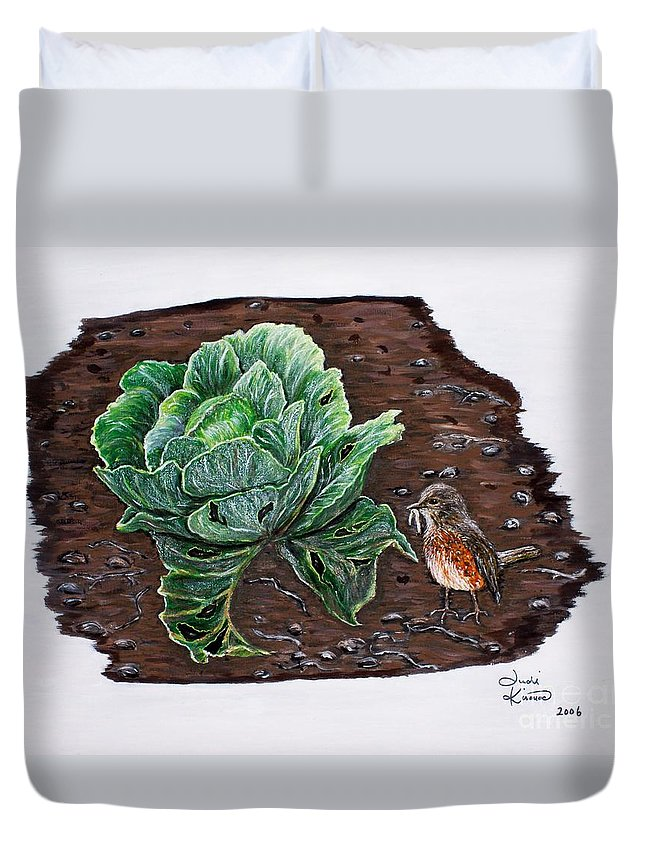Robin Duvet Cover featuring the painting Robin In The Gardin by Judy Kirouac