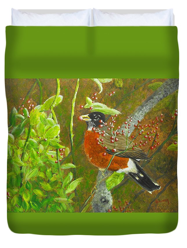 Nature Duvet Cover featuring the painting Robin In The Serviceberry Bush by Susan Bruner