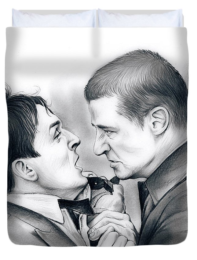 Robin Lord Taylor Duvet Cover featuring the drawing Robin Lord Taylor by Greg Joens