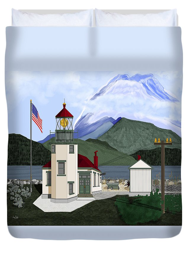 Point Robinson Lighthouse Duvet Cover featuring the painting Robinson Point With Mount Rainier by Anne Norskog