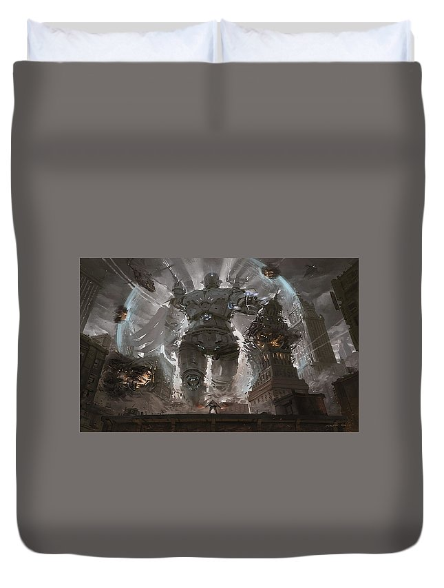 Robot Duvet Cover featuring the digital art Robot by Bert Mailer