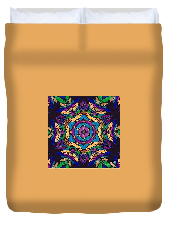 Original Tissue Paper On Black Canvas Digital Photograph By Breena Briggeman Fractal Continuous Pattern Kaleidoscope Abstract Round Beach Towels Throw Pillows Shower Curtains Tote Bag Phone Case Contemporary Modern Home Office Decor Wall Art Cheerful Colorful Uplifting Black Purple Blue Yellow Orange Green Duvet Cover featuring the digital art Robust by Breena Briggeman