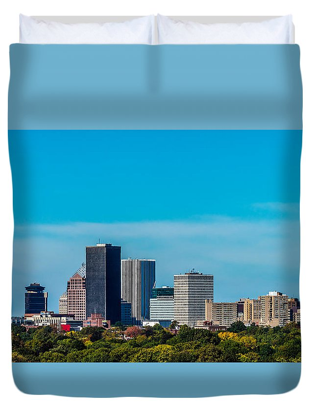 New York Duvet Cover featuring the photograph Rochester Ny Skyline by Ray Sheley