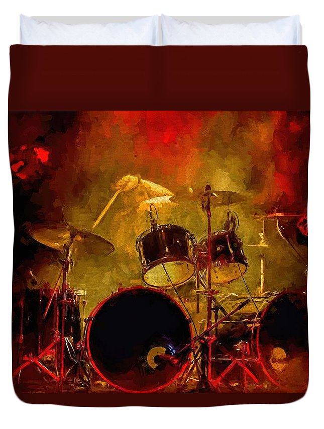 Rock And Roll Drum Solo # Rock And Roll # Drum Set # Rock And Roll Drum Paintings # Abstract Music Art # Zildjian # Drum Solo Painting # Concert # Smoke # Fog # Duvet Cover featuring the digital art Rock And Roll Drum Solo by Louis Ferreira