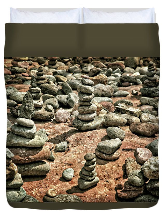 Rock Cairns At Buddha Beach Sedona Duvet Cover For Sale By