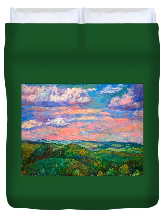 Landscape Paintings Duvet Cover featuring the painting Rock Castle Gorge by Kendall Kessler