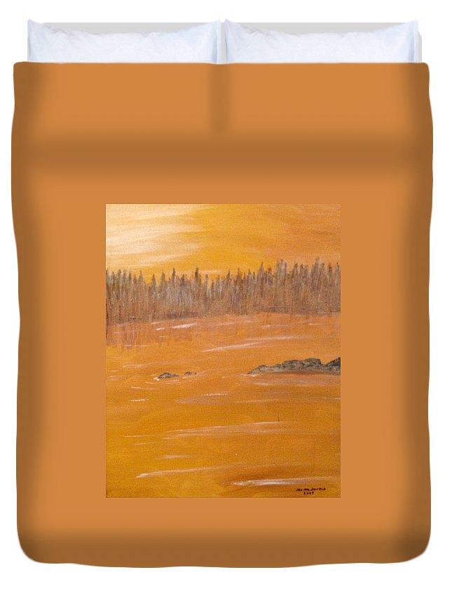 Northern Ontario Duvet Cover featuring the painting Rock Lake Morning 2 by Ian MacDonald