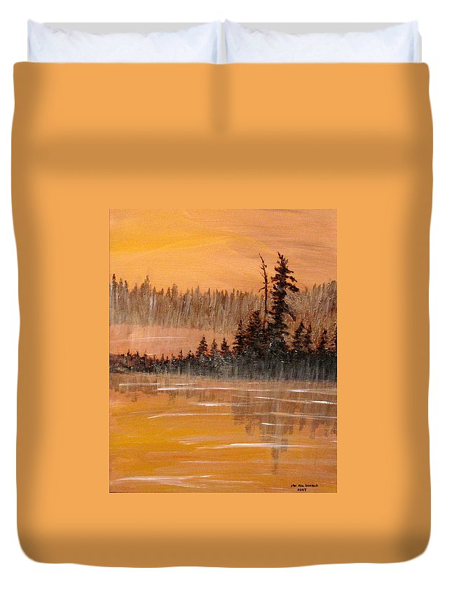 Northern Ontario Duvet Cover featuring the painting Rock Lake Morning 3 by Ian MacDonald