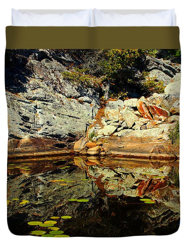 Shawanaga River Duvet Cover featuring the photograph Rock Me by Debbie Oppermann