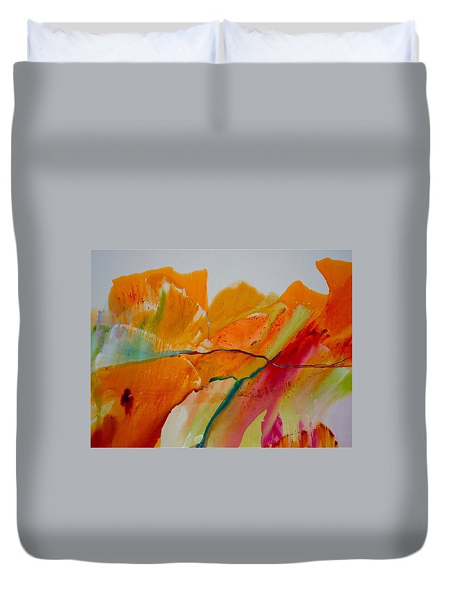 Rocks Duvet Cover featuring the painting Rock On by Nipper Suntrapak