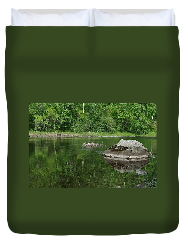 Summer Duvet Cover featuring the photograph Rock Reflection In The River by Alice Markham
