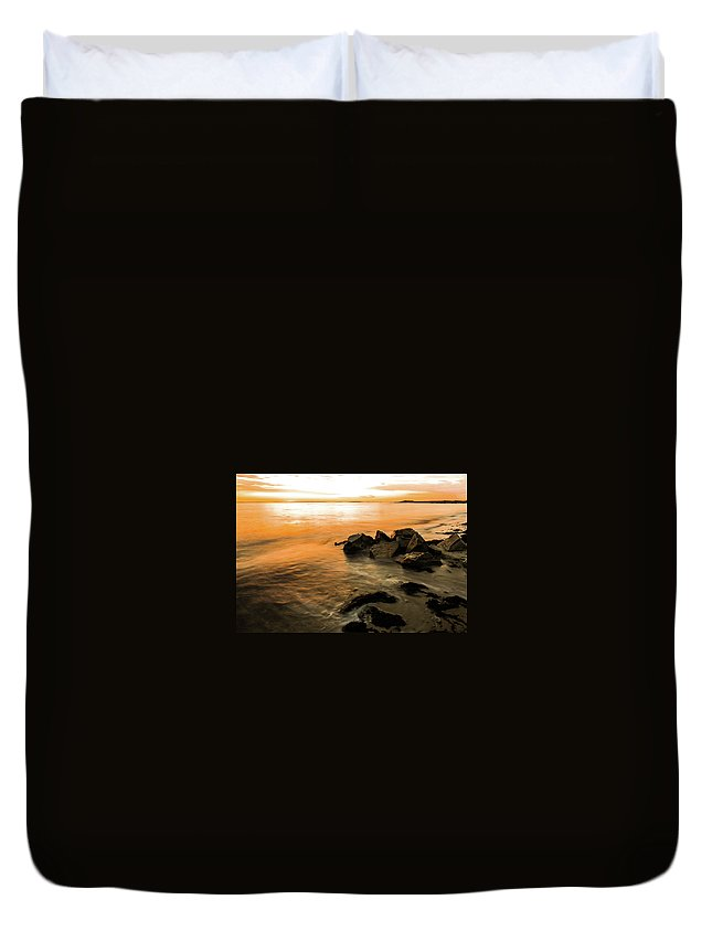 Sunrise Duvet Cover featuring the photograph Rock Rise by Mark Majndle