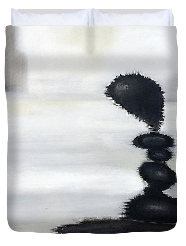 Modern Art Duvet Cover featuring the painting Rock Sculpture 2 by Jill English