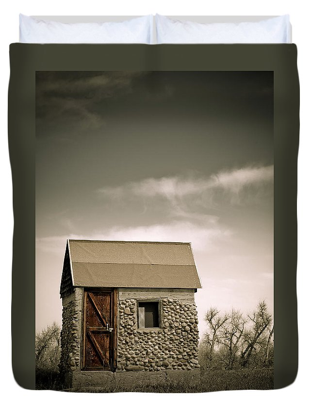 Rock Duvet Cover featuring the photograph Rock Shed by Marilyn Hunt