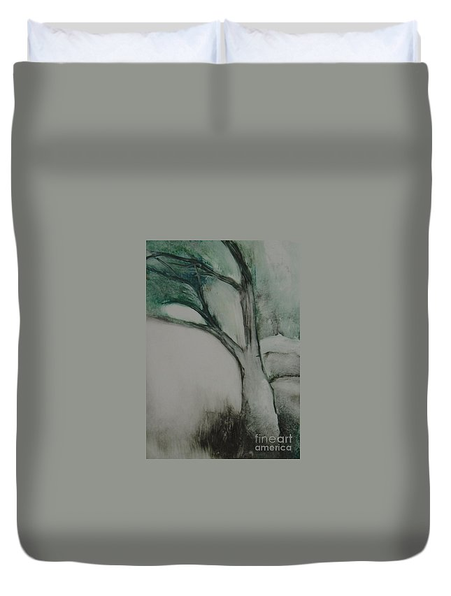 Monoprint Tree Rock Trees Duvet Cover featuring the painting Rock Tree by Leila Atkinson