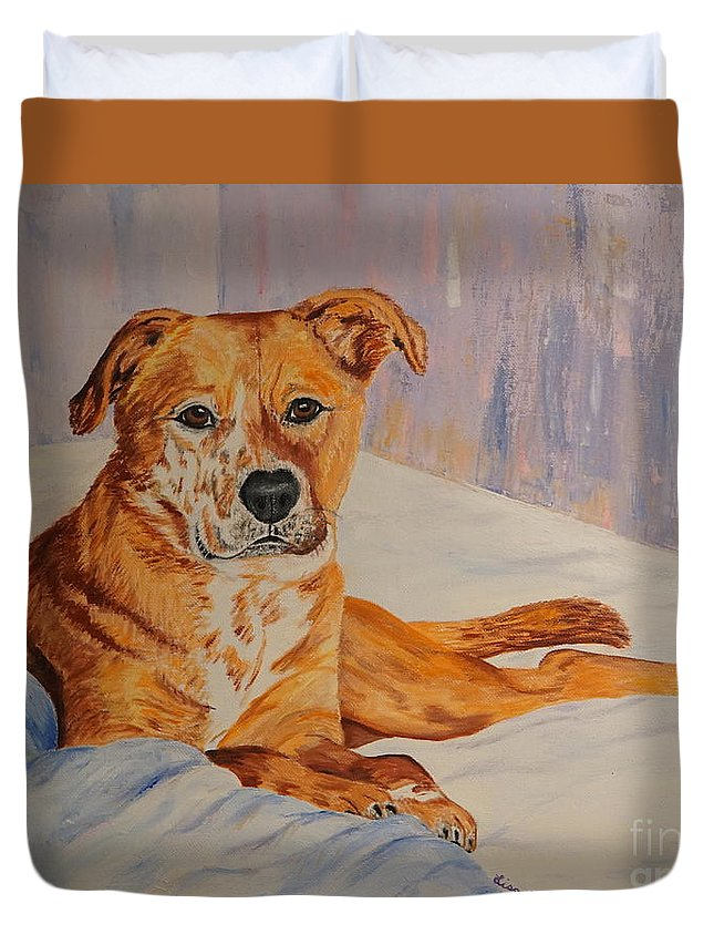 Dog Duvet Cover featuring the painting Rockaroni by Lisa Rose Musselwhite