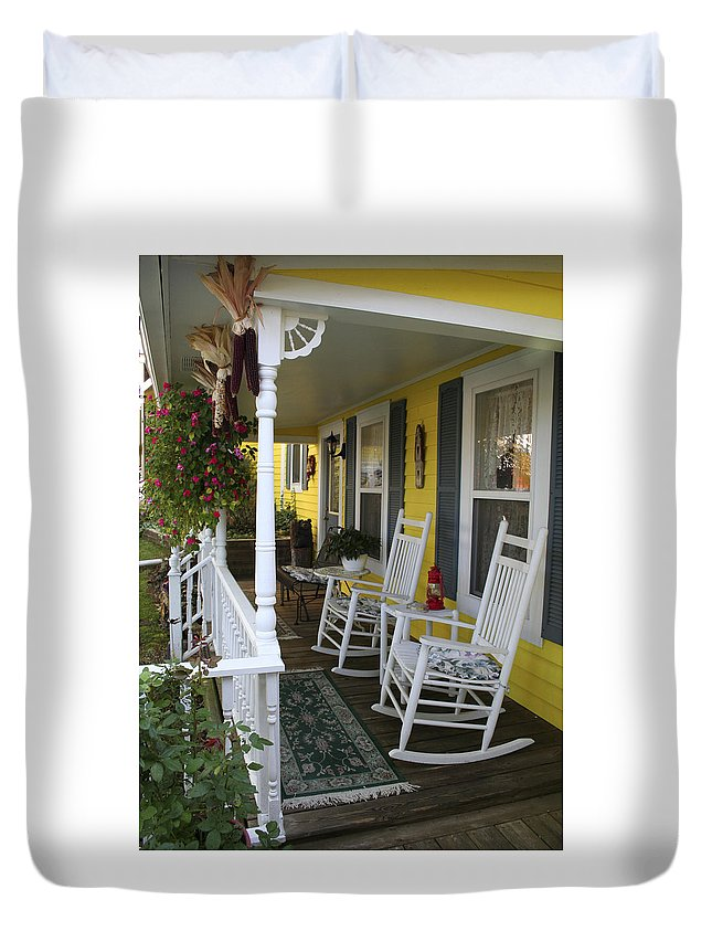 Rocking Chair Duvet Cover featuring the photograph Rockers On The Porch by Margie Wildblood