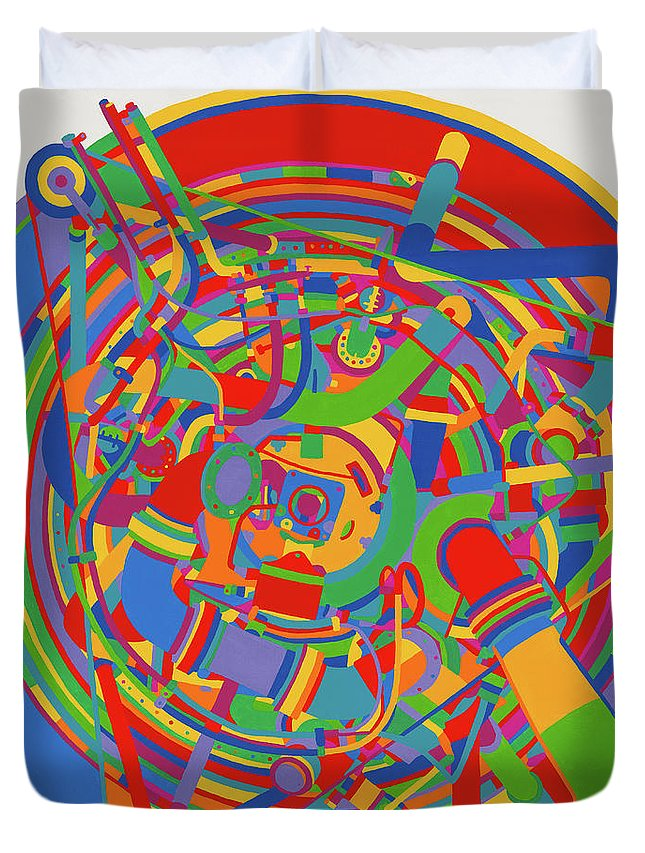 Rocket Duvet Cover featuring the painting Rocket by Janet Hansen