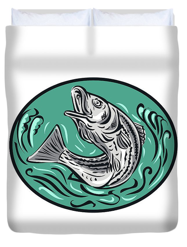 Drawing Duvet Cover featuring the digital art Rockfish Jumping Color Oval Drawing by Aloysius Patrimonio