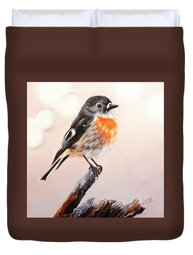 Scarlet Robin Duvet Cover featuring the painting Rockin Robin by Luna Vermeulen