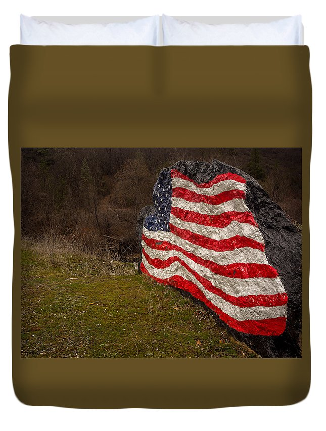 American Duvet Cover featuring the photograph Rockin' The Flag by Michele James