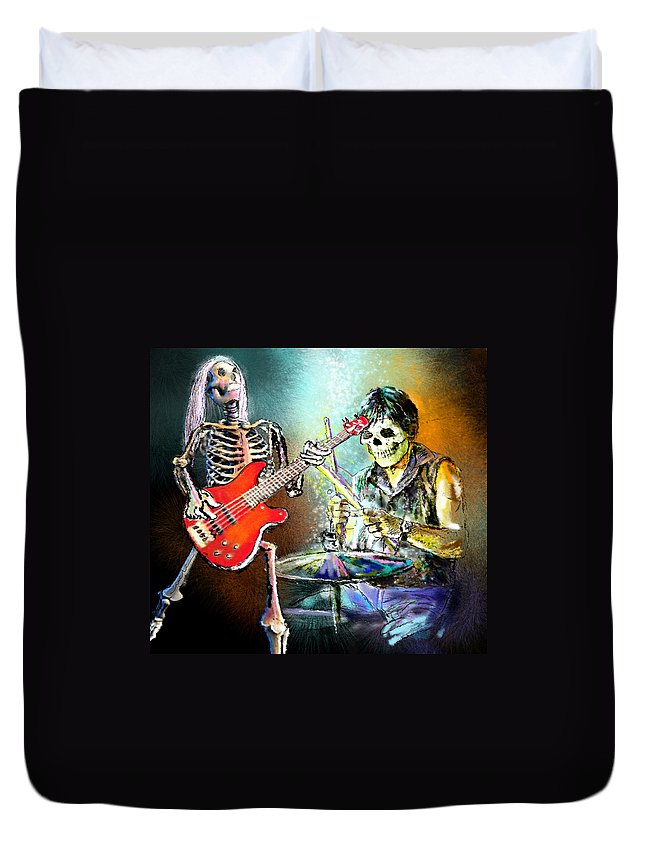 Halloween Duvet Cover featuring the painting Rocking The Free Spirits by Miki De Goodaboom