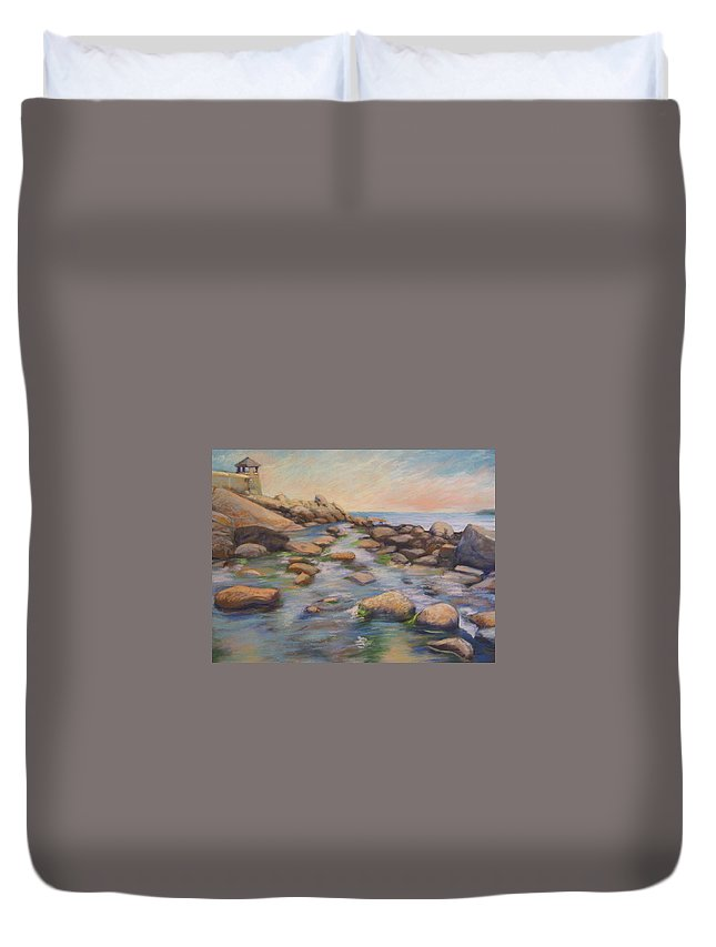 Mcgrath Duvet Cover featuring the painting Rockport Harbour by Leslie Alfred McGrath
