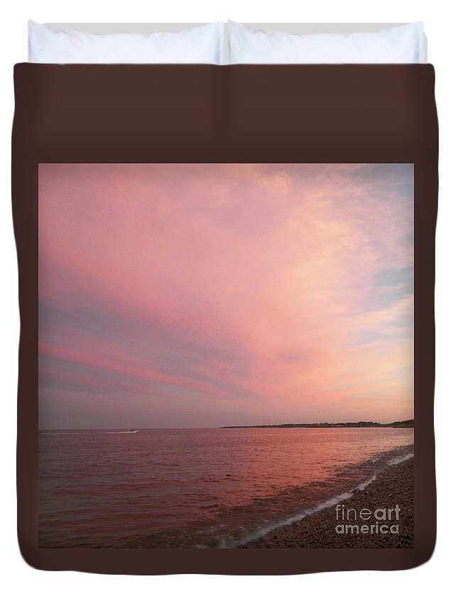 Rockport Duvet Cover featuring the photograph Rockport Sunset by Gina Sullivan
