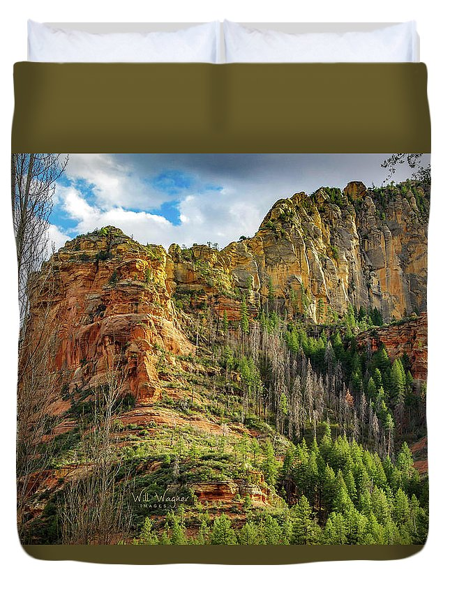 Sedona Duvet Cover featuring the photograph Rocks And Pines by Will Wagner