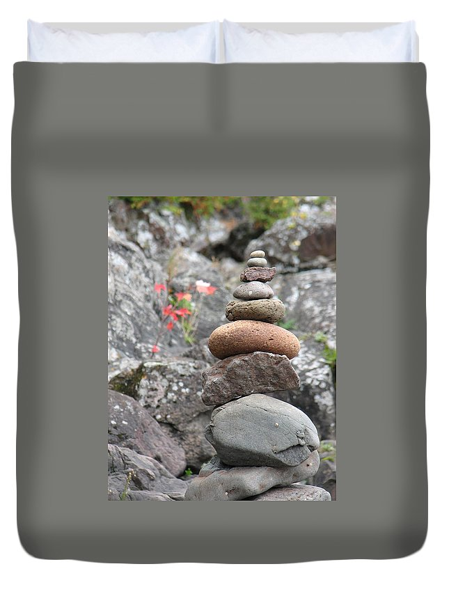 Rocks Duvet Cover featuring the photograph Rocks And Roses by Kelly Mezzapelle