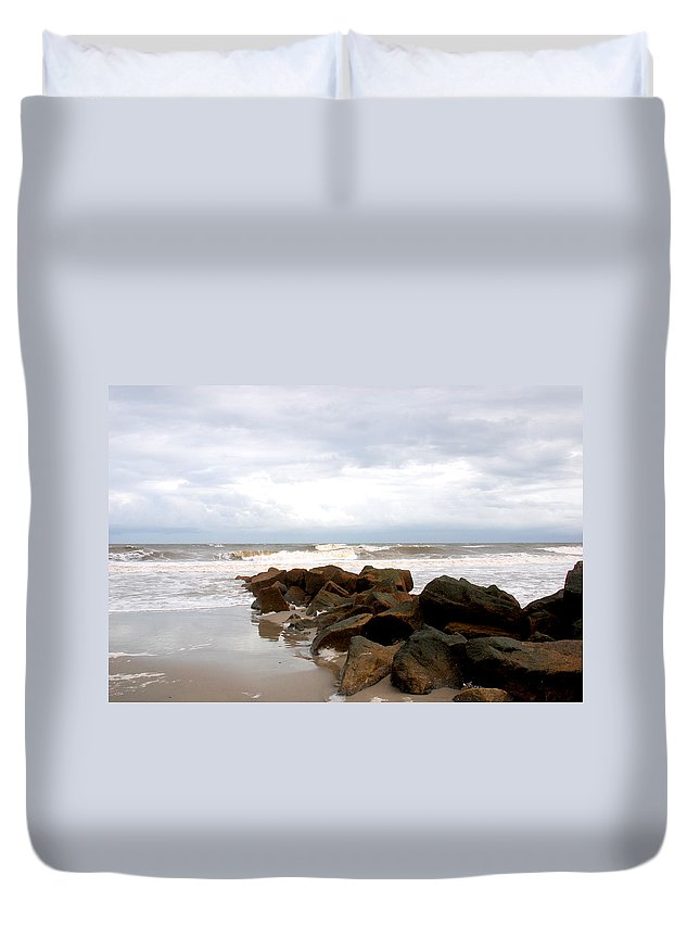 Rocks Duvet Cover featuring the photograph Rocks On The Beach by Susanne Van Hulst