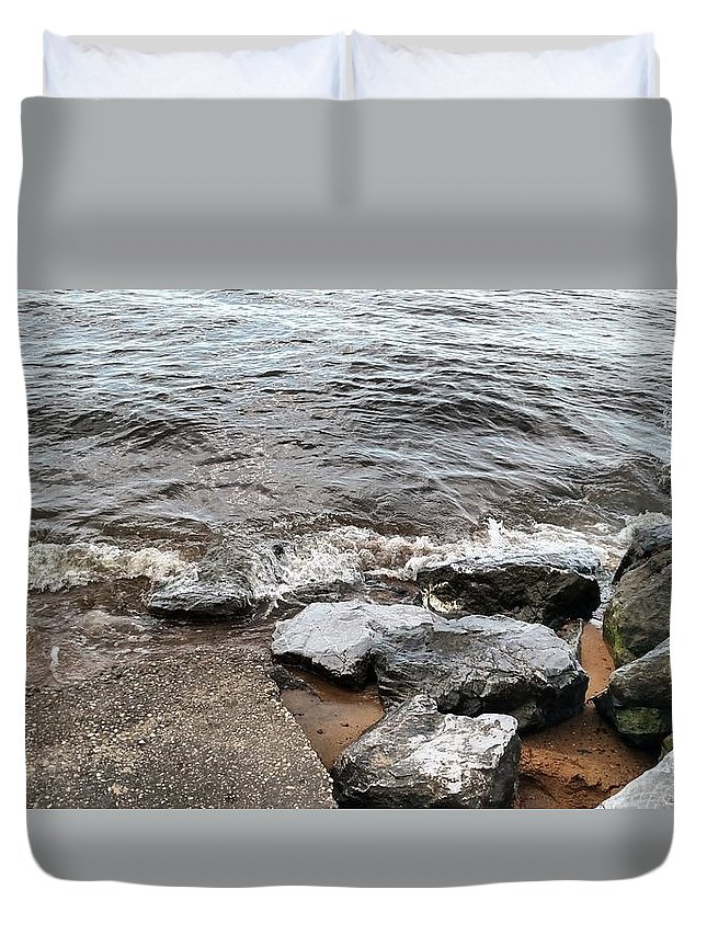 Rocks Duvet Cover featuring the photograph Rocks On The Chesapeake by AJ Robinson