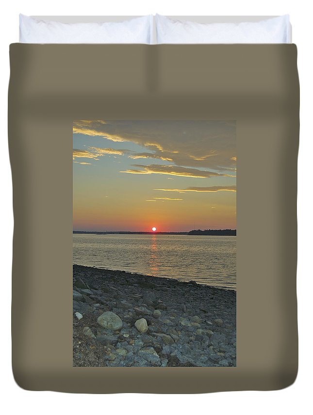 Rock Duvet Cover featuring the photograph Rocks Watch The Sunset by Faith Harron Boudreau