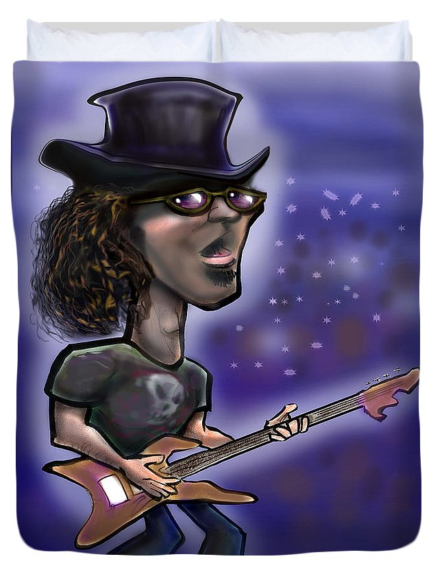 Rock Duvet Cover featuring the painting Rockstar by Kevin Middleton