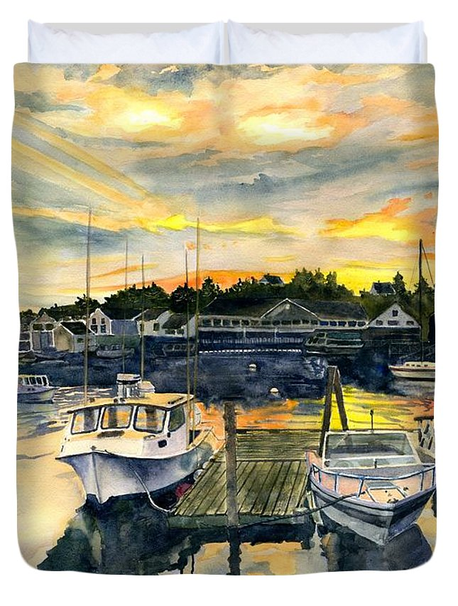 Boats Duvet Cover featuring the painting Rocktide Sunset by Melly Terpening