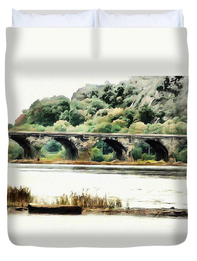 Rockville Bridge Duvet Cover featuring the digital art Rockville Bridge On The Susquehanna River by Leslie Montgomery