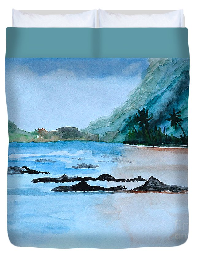 Rocky Beach Duvet Cover featuring the painting Rocky Beach by Christine Dekkers