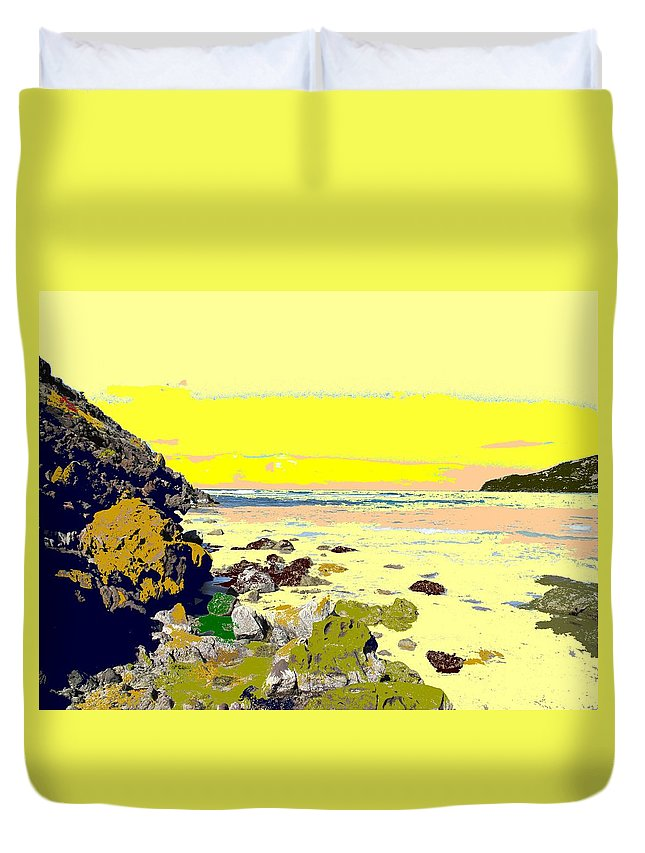 Beach Duvet Cover featuring the photograph Rocky Beach by Ian MacDonald