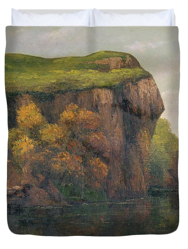 Cliff-face Duvet Cover featuring the painting Rocky Cliffs by Gustave Courbet